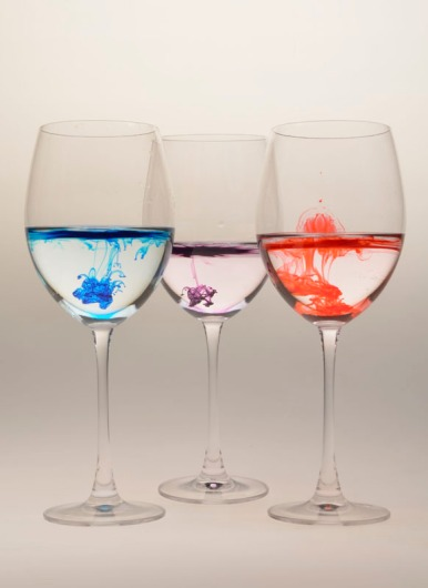 Food coloring is put into wine glasses to represent how easily drugs can be put into a glass. 25% of all rapes have some kind of drug as a factor.